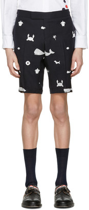 Thom Browne Navy Multi Icon Funmix Side Tab Shorts $1,150 thestylecure.com