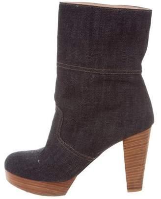 Robert Clergerie Denim Platform Ankle Boots