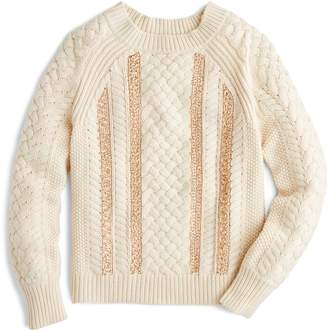 J.Crew Cable Knit Sequin Sweater