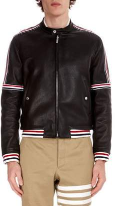 Thom Browne Men's Buffalo Leather Cropped Jacket