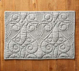 Pottery Barn Washed Cotton Quilted Placemat - Platinum