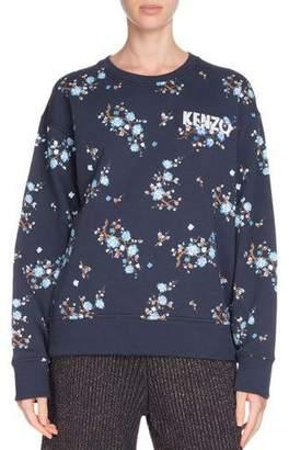 Kenzo Comfort Floral-Print Crewneck Logo Sweatshirt