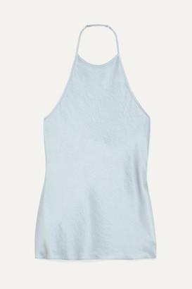 Alexander Wang Crinkled-satin Halterneck Top - Light blue