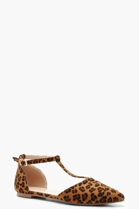 boohoo Leopard Print T Bar Pointed Flats