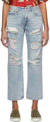 R 13 Blue Rips Boyfriend Jeans