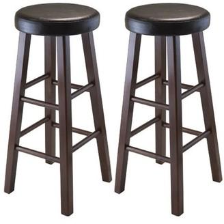 Winsome Wood Marta Cushion Seat Bar Stools, 2PC, Espresso & Walnut