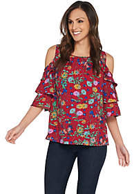 Linea by Louis Dell'Olio Wild Flower ColdShoulder Top