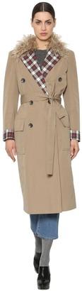 Isa Arfen Canvas Trench Coat W/ Wool & Plaid