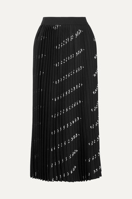 Balenciaga Pleated Printed Stretch-knit Midi Skirt - Black