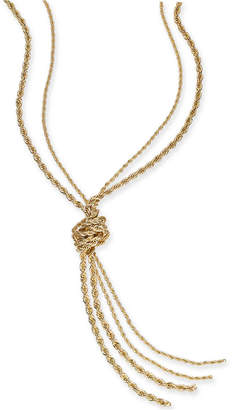 "Charter Club Gold-Tone Double Rope Knotted Lariat Necklace, 32"" + 2"" extender"