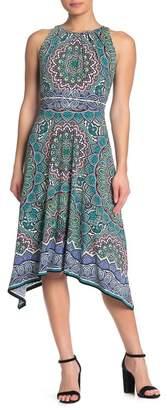 London Times Pleated Neck Handkerchief Hem Dress