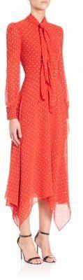 Saint LaurentSaint Laurent Glitter-Embellished Silk Handkerchief-Hem Dress