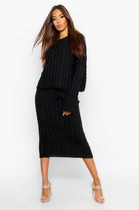 boohoo Cable Knit Sweater And Skirt Set