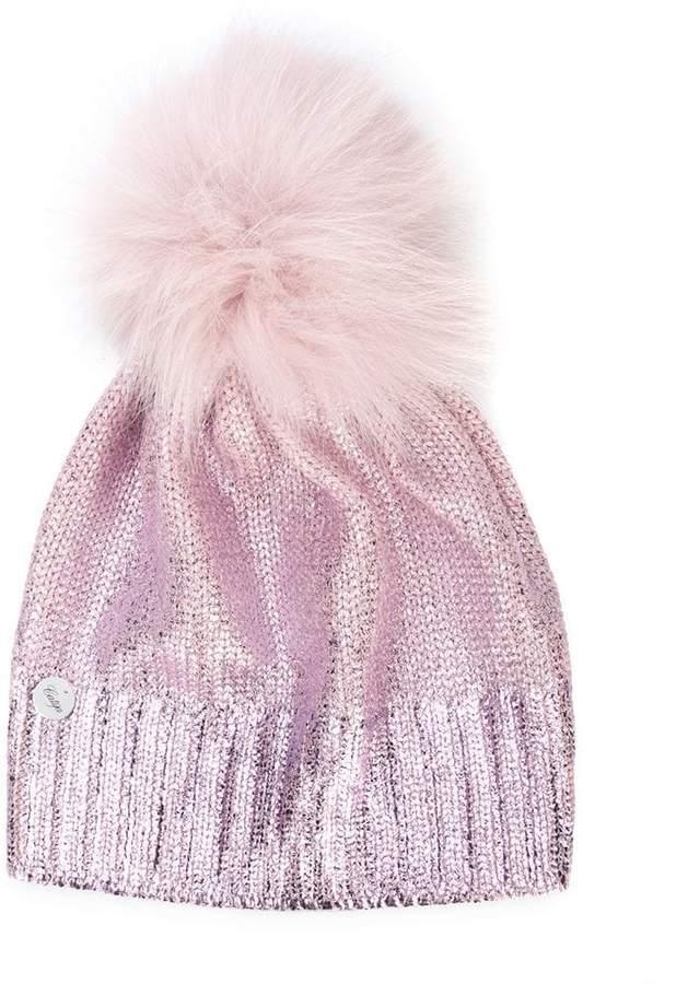 Catya Kids metallic pompom knit hat