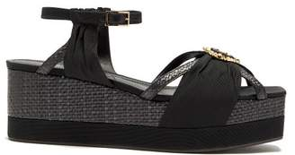 Erdem Tessie Raffia Crystal Embellished Platform Wedges - Womens - Black
