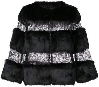 Alberto Makali rabbit fur and sheer jacket