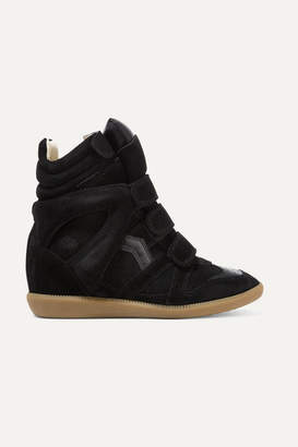 3864a5e74100 Isabel Marant Bekett Leather-trimmed Suede Wedge Sneakers - Black