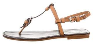 Calvin Klein Collection Leather T-Strap Sandals
