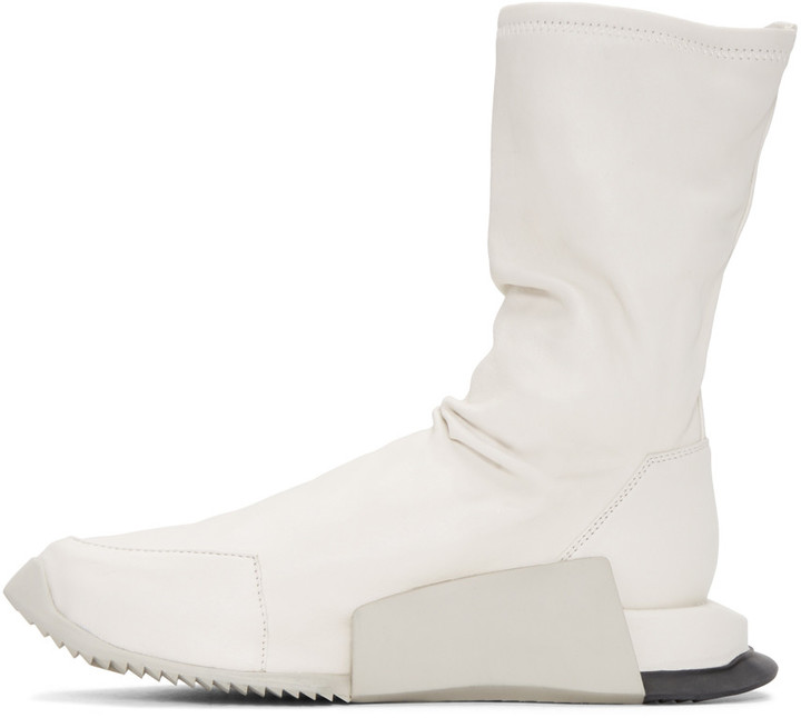 Rick Owens Ivory adidas Orginals Edition Leather Level Sock Mid-Calf Sneakers 3
