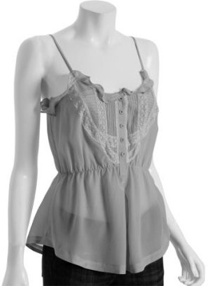 Rebecca Taylor pearl grey silk lace detail camisole