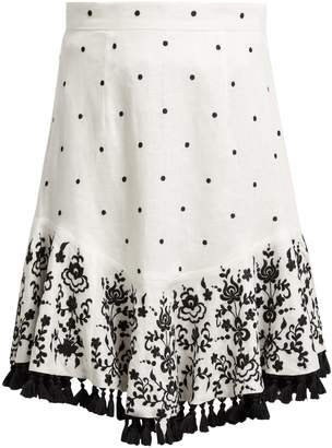 Zimmermann Tali embroidered linen skirt