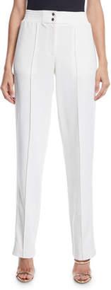 Sally LaPointe High-Rise Straight-Leg Track Pants w/ Sequin Tux-Stripe
