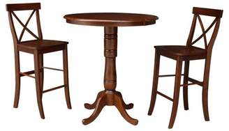 """INC International Concepts 36"""" Round Extension Dining table with 2 X-Back Barheight Stools - Set of 3 Pieces"""