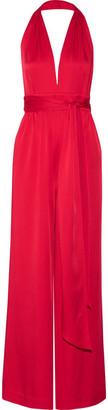 Rachel Zoe Ainsley Satin-crepe Halterneck Jumpsuit - Red