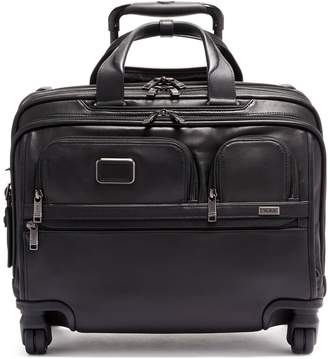 Tumi Alpha 3 Leather Deluxe 4-Wheel Laptop Briefcase