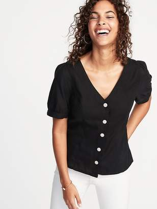 Old Navy Button-Front Puff-Sleeve Blouse for Women