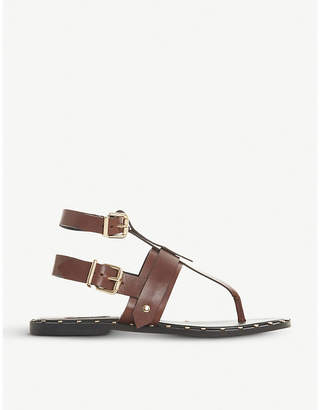 Dune Black Lorrenzo studded leather gladiator sandals
