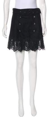Burberry Lace-Trimmed Wool Skirt