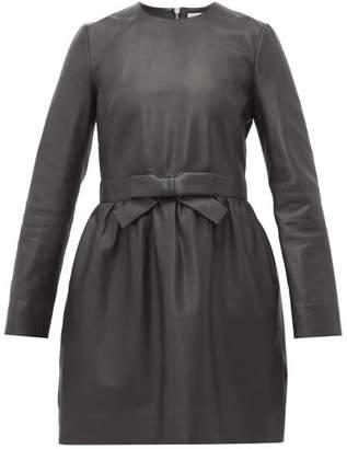 RED Valentino Bow Waist Leather Mini Dress - Womens - Black