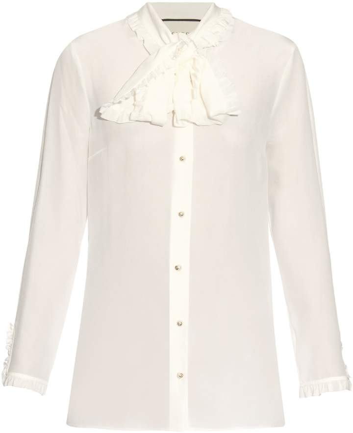 Gucci GUCCI High-neck ruffled silk-crepe blouse