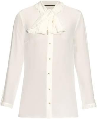 Gucci High-neck ruffled silk-crepe blouse
