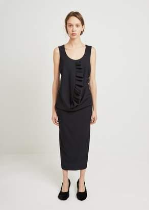 Comme des Garcons Wool Gabardine Ruffle Dress