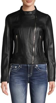 Derek Lam 10 Crosby Tab-Collar Leather Jacket