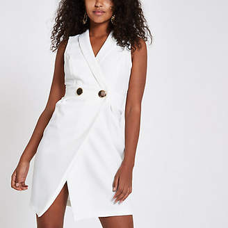 River Island White bodycon wrap tux mini dress