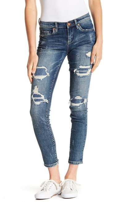 BLANKNYC Reade Rip Rep Mid Rise Skinny Jeans