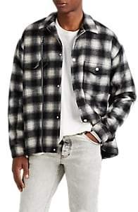 Stampd Men's Asher Wool-Blend Flannel Oversized Jacket - Black