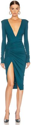 Alexandre Vauthier Ruched Midi Dress in Cobalt | FWRD