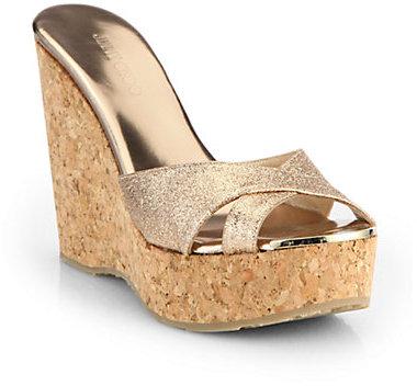 Jimmy Choo Perfume Glitter Cork Wedge Sandals