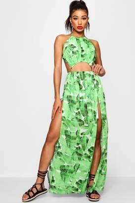 boohoo Amelie Split Front Palm Maxi Dress