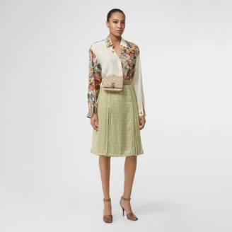 Burberry Monogram Print Silk Pleated Skirt