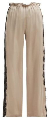 Icons Lace Trimmed Trousers - Womens - Beige