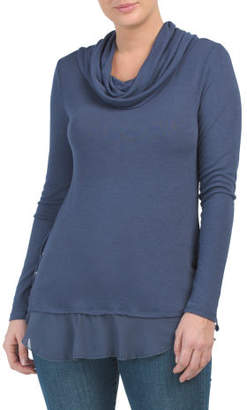 Cowl Neck Side Lace Up Cozy Top