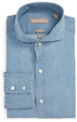 Men's Michael Bastian Trim Fit Chambray Shirt $98.50 thestylecure.com