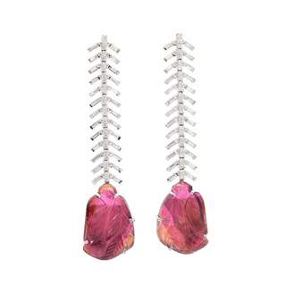 Ri Noor - Baguette Diamond & Carved Tourmaline Earrings