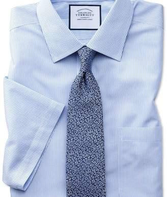 Charles Tyrwhitt Slim fit non-iron Bengal stripe short sleeve sky shirt