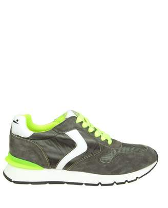 """Voile Blanche liam Race"""" Sneakers In Suede And Canvas Military Color"""